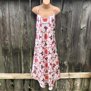 Natori Long Floral Silky Satin Nightgown Sz L